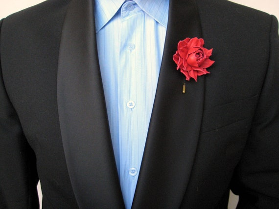 Mens leather flower lapel pin  Wedding lapel pin  Red rose pins  Dark blue  rose, Natural leather lapel pin  Ready to ship