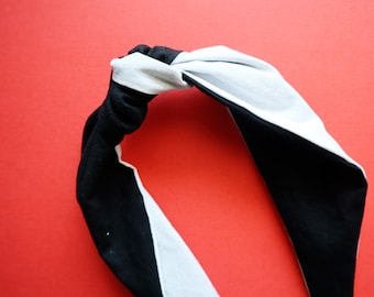 Marvelous Black & White with Silver Glitter Knot Headband