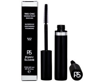 Vegan Smudge proof Flake proof & Waterproof Tubing Mascara easily removed with water Cruelty Free  Black Long Lasting Poppy Sloane Tres Chic