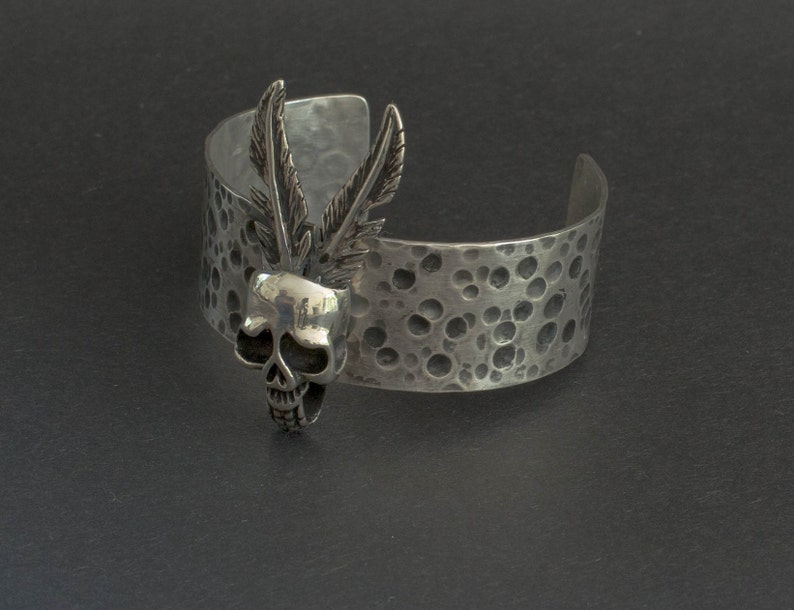 Dark fashion jewelry punk style Wide cuff bracelet,Solid silver Hammered and  punched Steampunk bracelet cuffs, Silver Skull,Arm band