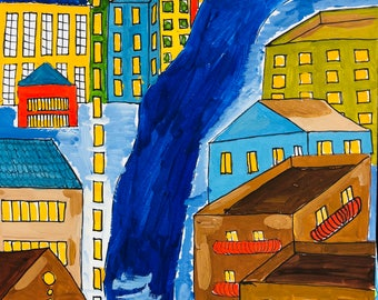 Street with houses made in gouache