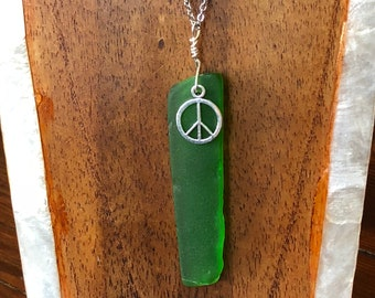 Green Peace Sea Glass Charm Necklace