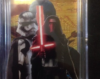 Star Wars force awakens 3D pop up art card,Kylo/Phasma. hand made