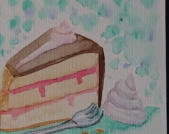 """Watercolor Postcard """"Cake"""""""