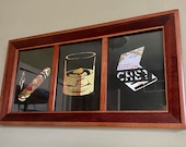 Framed Cigar Trio made from Reclaimed Cigar Band Labels - Cigar, Cigar Cutter, Matches, Whiskey Rocks Glass