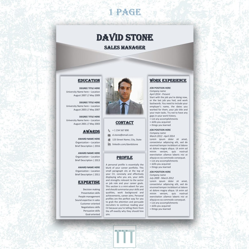 Creative Cv Template Indesign Resume Modern Man Resume With Etsy