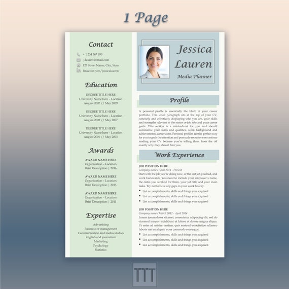 Blue resume Creative resume and cover letter template Google doc resume  Modern resume bundle CV template with photo CV template professional