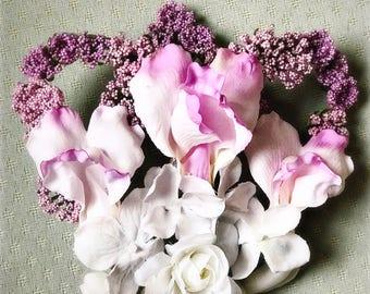 "Art Nouveau Flower Hairpiece ""RAFAELLA"" White/Pink Ombré  Bridal Wedding Fascinator Hair Comb"