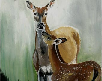 Watercolour Doe and Fawn Fallow Deer Print