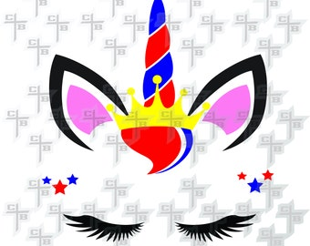 4th of July cute Patriotic unicorn princess unicorn svg Hipster Svg PNG Files Svg Files for Silhouette Cameo Svg Files for Cricut Files