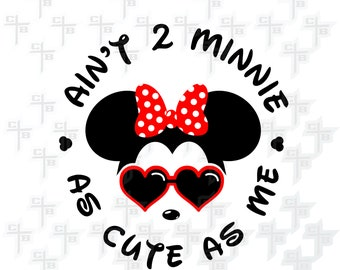Cute Disney Minnie Mouse 2nd Birthday svg Hipster Svg PNG Files Svg Files for Silhouette Cameo Svg Files for Cricut Files for Girls