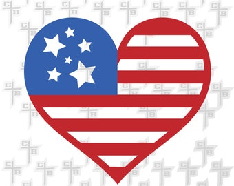 American at Heart SVG DXF eps and png Files for Cutting Machines Cameo or Cricut Second 4th Birthday