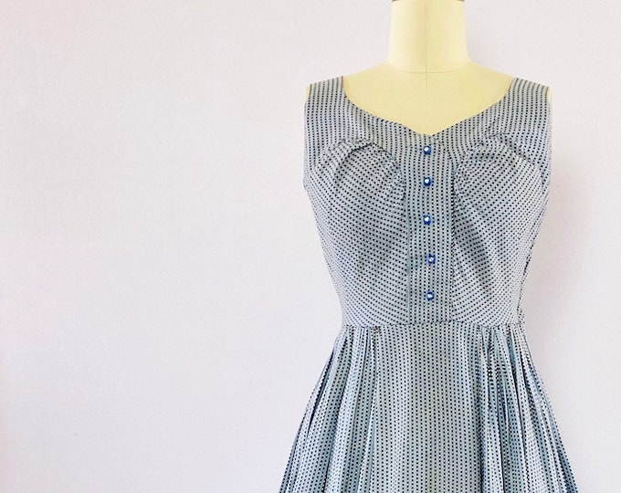 Featured listing image: 1950s Sleeveless Embroidered Stripe Dress