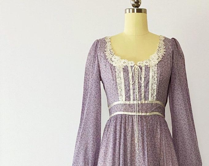 Featured listing image: GUNNE SAX Vintage | 1970s - Lavender Lace-up Floral Maxi Dress