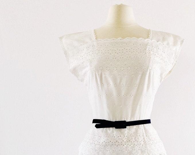 1980s LANZ ORIGINALS White Eyelet Peplum Dress