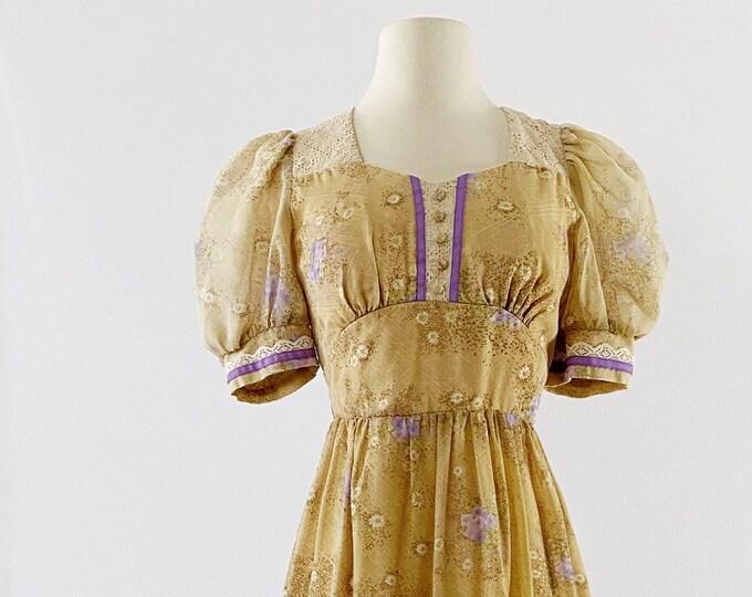1970s CANDI JONES Floral-Print Maxi Dress