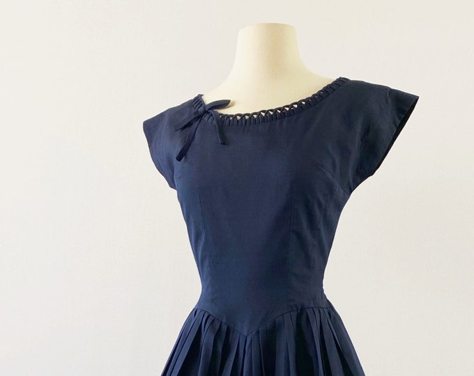Featured listing image: 1950s Pleated Cotton Dress