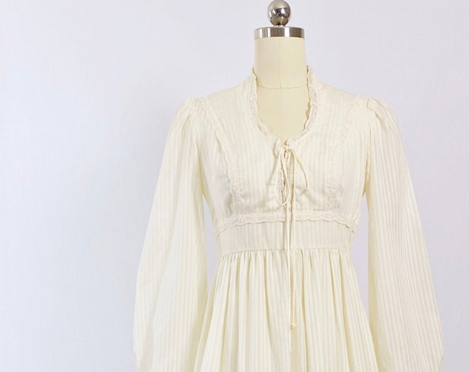 1970s Cream Lace-Up Striped Gown