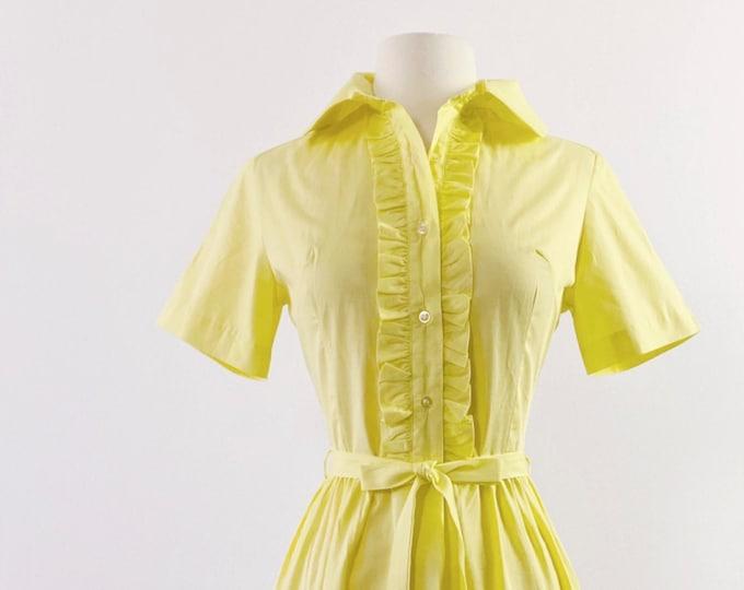 1960s Pastel Yellow Ruffled Cotton Shirtdress