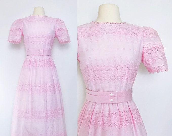 Vintage Lanz Originals Pink Eyelet Embroidered Dress