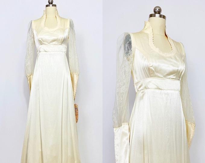 GUNNE SAX   NWT 1970s Lace -Trim Long-Sleeve Satin Gown   Vintage Wedding Gown