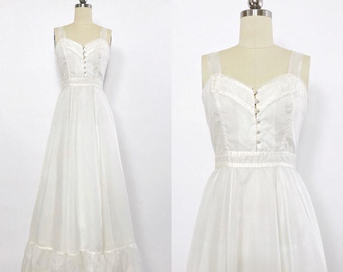 GUNNE SAX | vintage 1970s Pearl-button Swiss dot maxi dress | vintage wedding dress