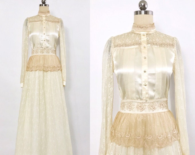 GUNNE SAX | vintage 1970s Ivory satin- bodice lace peplum gown