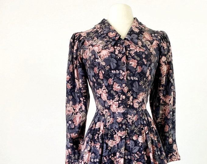 LAURA ASHLEY Vintage   1980s Floral Cotton-Wool Midi Dress