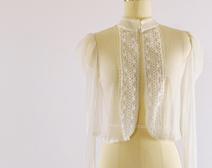 GUNNE SAX   1970s White Sheer Lace Jacket