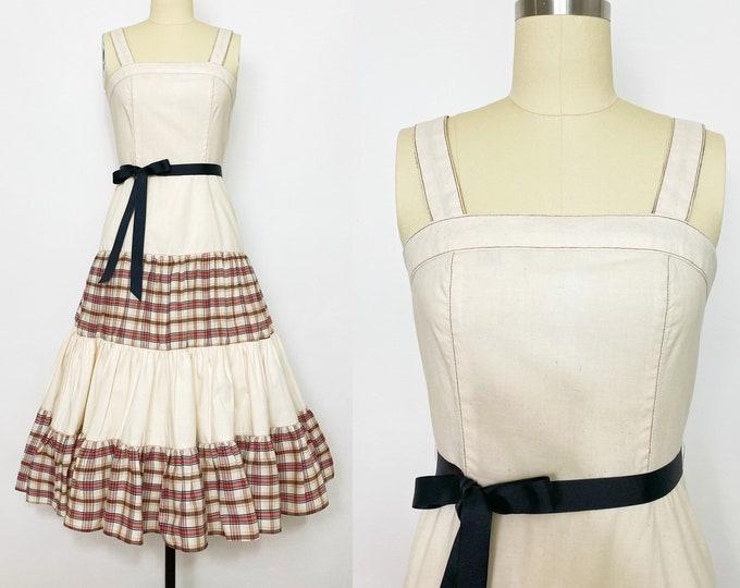 1970s Plaid-Print Dress