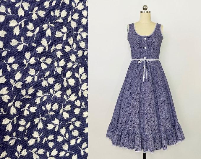 LAURA ASHLEY   vintage 1970s sleeveless floral cotton dress