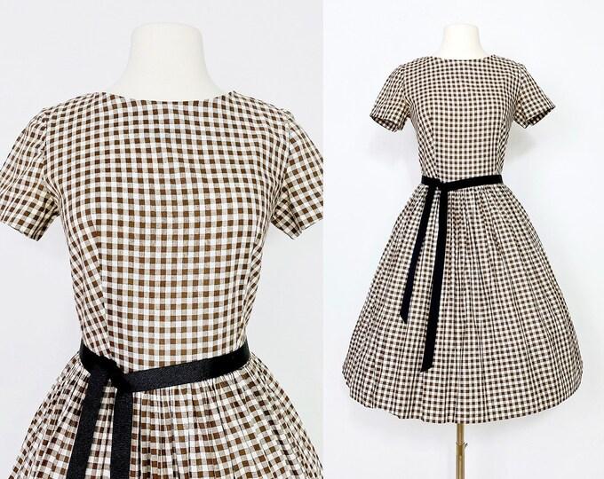 1960s Brown Gingham Dress