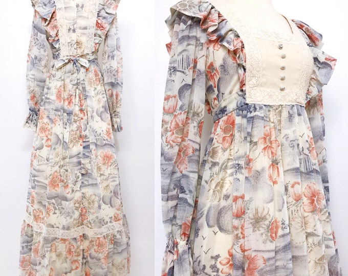 CANDI JONES | vintage 1970s ruffled square-neck floral maxi dress