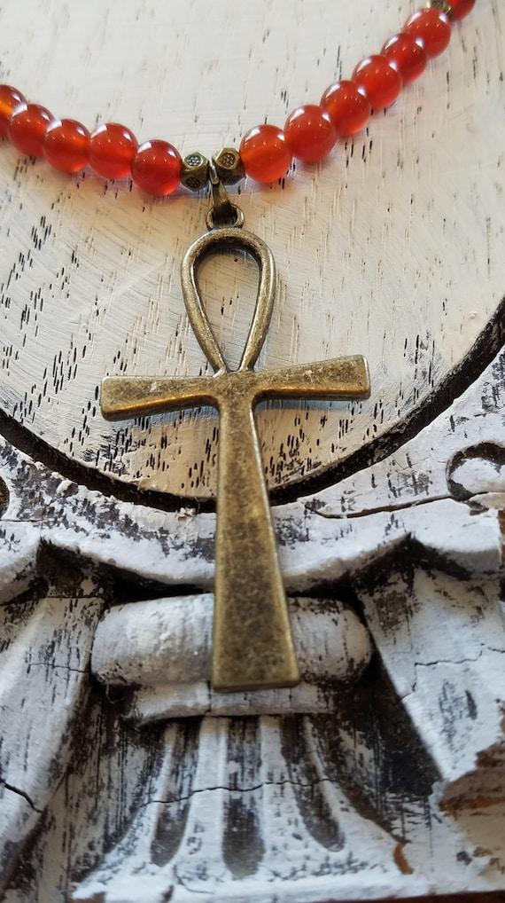 Black /& Bronze Ankh Y-Necklace