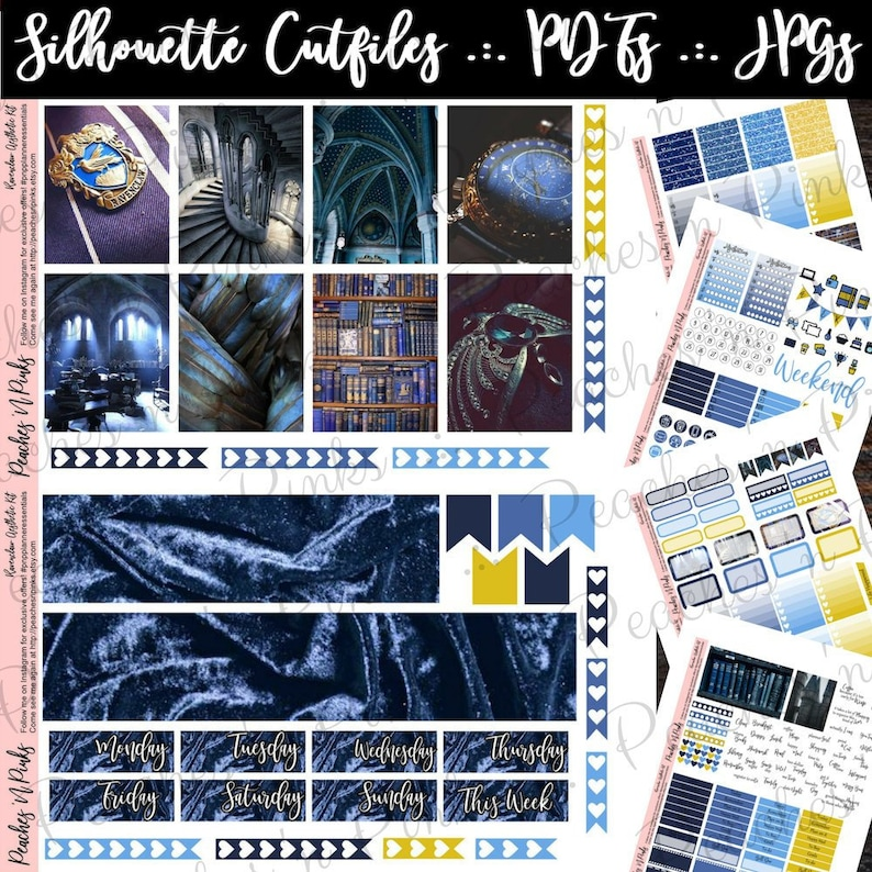 Ravenclaw Aesthetic Erin Condren Vertical Weekly Photo Kit Printable  Planner Stickers with Silhouette Cut files - Includes Offset / Bleed