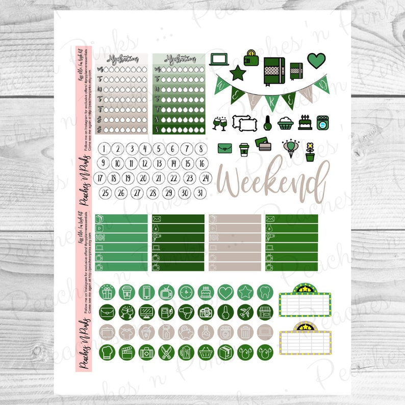 Kiss Me Includes Offset  Bleed I/'m Irish Erin Condren Vertical Weekly Photo Kit Printable Planner Stickers with Silhouette Cut files