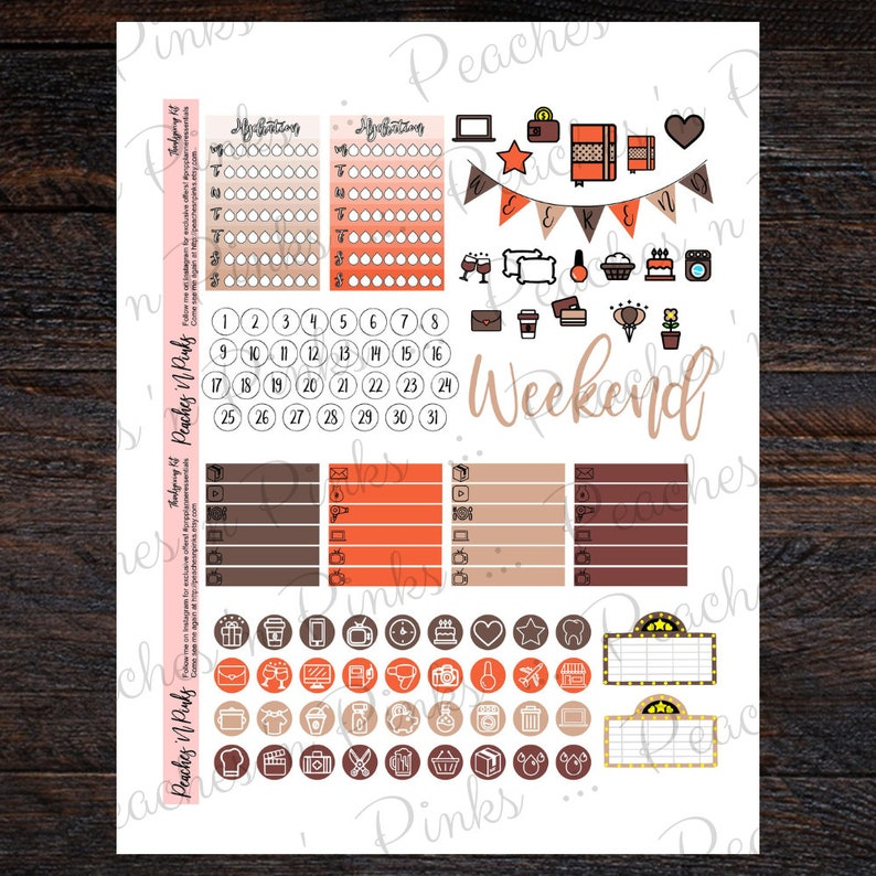 Thanksgiving Erin Condren Vertical Weekly Photo Kit Printable Planner Stickers with Silhouette Cut files