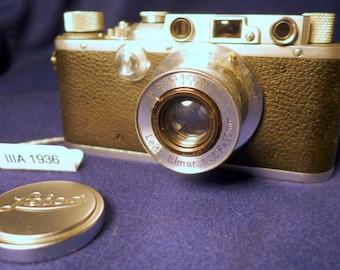 Vintage Leitz LEICA IIIa Rangefinder Camera with 50mm Elmar F3.5 Lens LTM