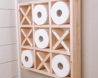 Tic Tac Toe- Toilet Paper Holder- Tic Tac Toe Wall Decor- Shelf- Shelves- Wall Decor- Bathroom Decor- Modern Wall Decor- Wall Art