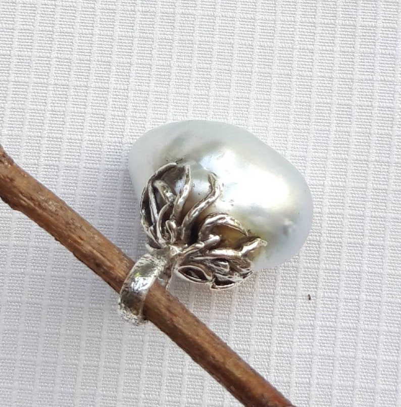 Sterling Silver A noetic South Sea Pearl Pendant Large Pearl Baroque Silver  Transfarent blue Pearl