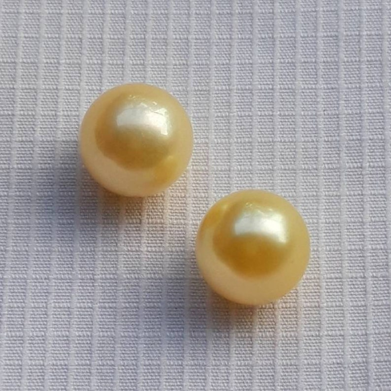 Loose Pearl Near Round South Sea Pearl Jewelry Supply yellow Pearl