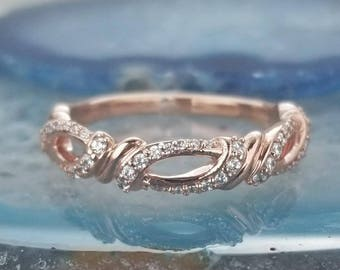 10k Solid Rose Gold Marquise Diamond Stackable Wedding Band Etsy
