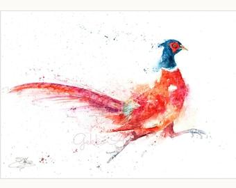 signed LIMITED EDITON wildlife bird art PRINT  original running PHEASANT nature