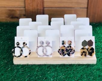 Earring card stand, wooden earring card holder, earring holder base