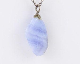 Agate pendant-Natural Blue Stone Pendant Necklace-Vintage pendant-Pendant Jevelri
