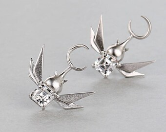 Ear Studs, Sterling Silver, Beetle,Insect,Personality