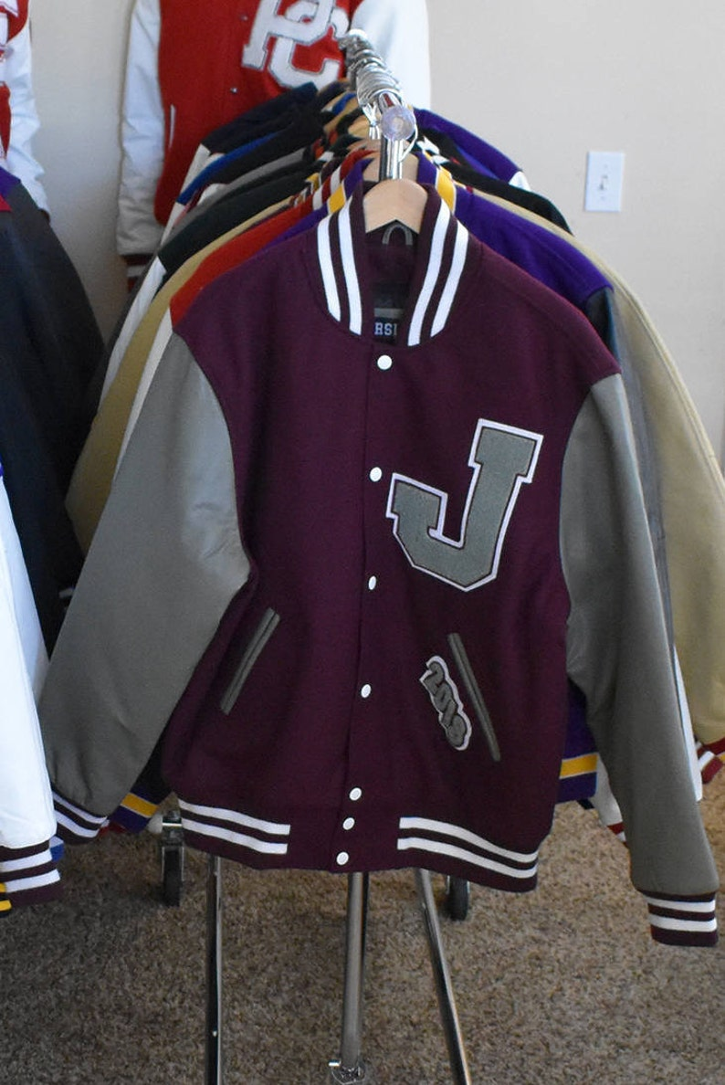 4debf7d2d Varsity Letterman Jacket Faux Leather or Genuine Leather & | Etsy