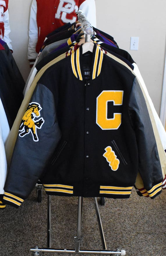 Varsity Letterman Jacket Genuine Leather & Wool Premium Handmade Letter Custom C Gold Mustang Mascot Cedar Gold and Black
