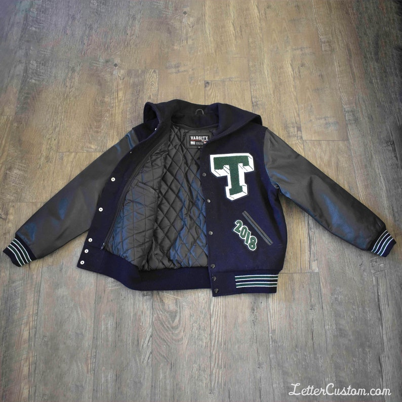 Varsity Letterman Jacket Black Genuine Leather & Dress Navy Wool Hunter  Green Knit Trim Stripes Zipper Wool Hood Chenille Patches 3D T Patch