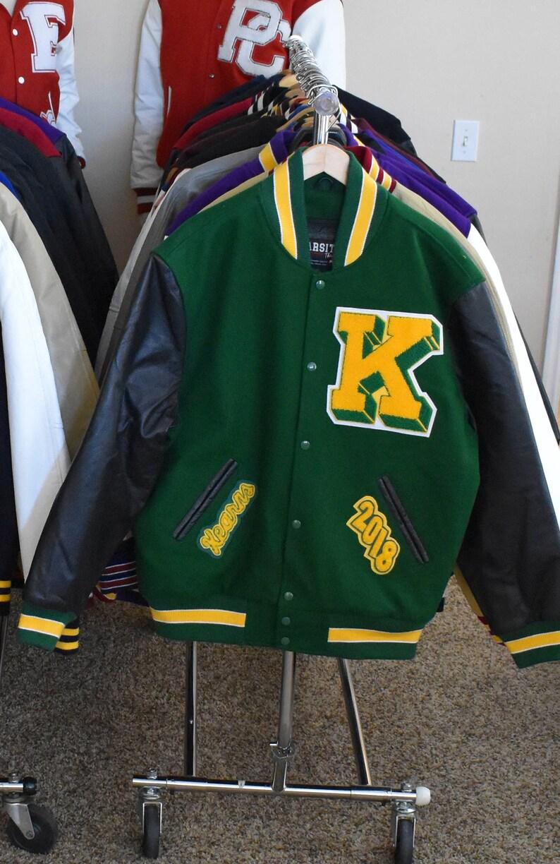 be41c5848 Varsity Letterman Jacket Vinyl Faux Leather & Wool Premium | Etsy